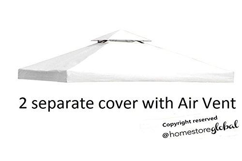 HomeStore Global Reemplazo Canopy para 3M x gazebo 3M con Air Vent - 2 piezas de la cubierta separadas para dos niveles marco gazebo, blanco