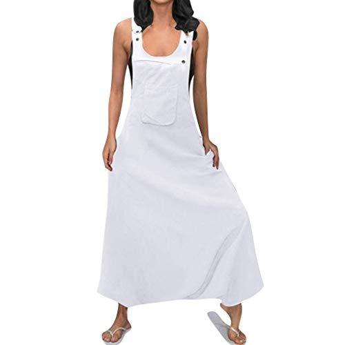 TianWlio Übergröße Frauen U Neck Sleeveless Backless Seitentaschen Baggy Long Overalls Weiß XXXXL