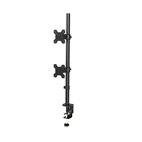 Suptek Dual LCD LED Monitor Stand Desk Mount Bracket Heavy Duty Stacked, Holds Vertical 2 Screens up to 27