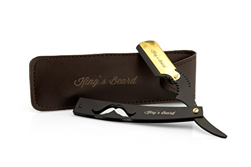 King's Beard Edelstahl Rasiermesser, der Bart Rasierer für den modernen Mann | Klingen Rasierer in schwarz mit edlem Leder Etui für unterwegs | Mens Razor | Barber Messer