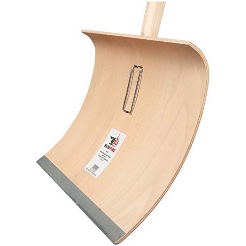 SHW-FIRE 59021 Schneeschaufel Schneeschieber Holz Sperrholz 50 cm breit Professional mit Aluminiumkante Stiel 150 cm lang