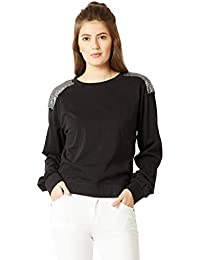 Miss Chase Women's Black Cotton Sequined Sweatshirt