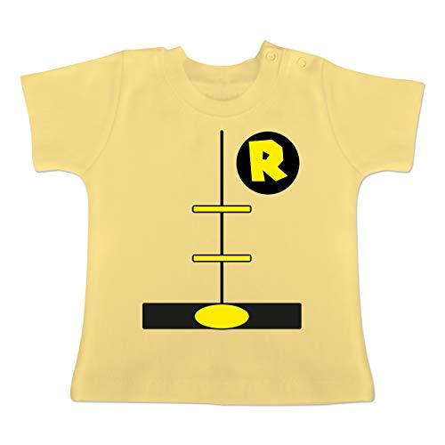 Karneval und Fasching Baby - Superheld Kostüm Kind - 1-3 Monate - Hellgelb - BZ02 - Baby T-Shirt Kurzarm