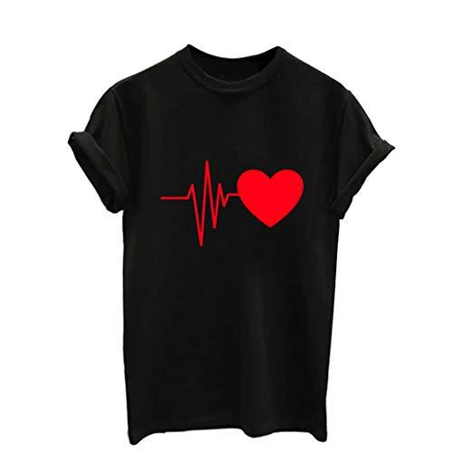 Damen T-Shirt Mädchen Teenager Sommer, T Shirt Weiß Damen Loose Baumwolle Crop Tops Elektrokardiogramm Graphic Kurzarm T-Shirt Tees Bluse Lässiges Joker Crop Top Oberteil (Crop Langarm Loose Top)