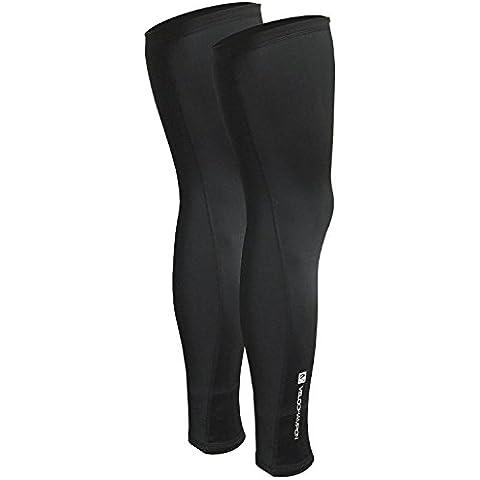 VeloChampion Thermo Tech Lite Calentadores de piernas para ciclismo - Negros Leg Warmers Black (Black,