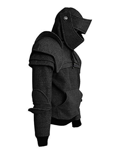 Römischer Ritter 9D Kapuzen Helm Visor Cosplay Wind Maske Fahrer Pullover -
