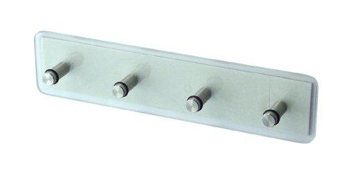 Zeller 13871 - Appendiabiti con 4 ganci, in vetro e acciaio INOX, 22 x 5 x 0,5 cm