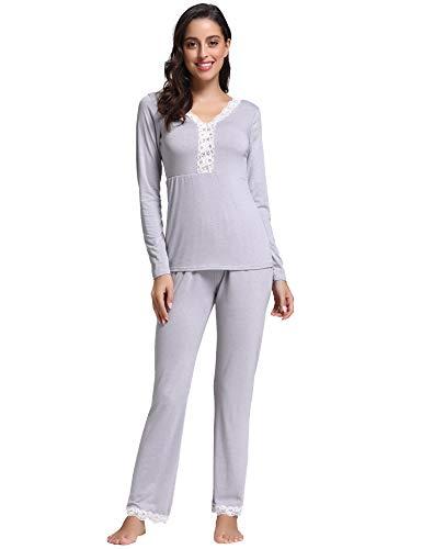 Aibrou Damen Spitzen Pyjama Set, Zweiteiliger Langarm Schlafanzug Tiefer V-Ausschnitt Nachtwäsche Set Grau M