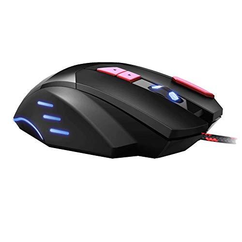 YZYL Gaming-Maus mit 7 oder 6 Geschwindigkeiten und Variabler Geschwindigkeit für professionelle Spiele oder das Büro-red -