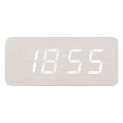 Reloj despertador luminoso LED madera color blanco