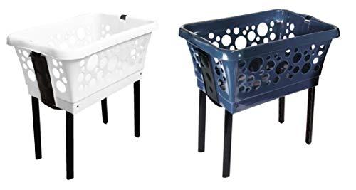 2 x Wäschekorb aus Kunststoff mit ausklappbaren Beinen in Weiß und Blau, Stabil und stapelbar