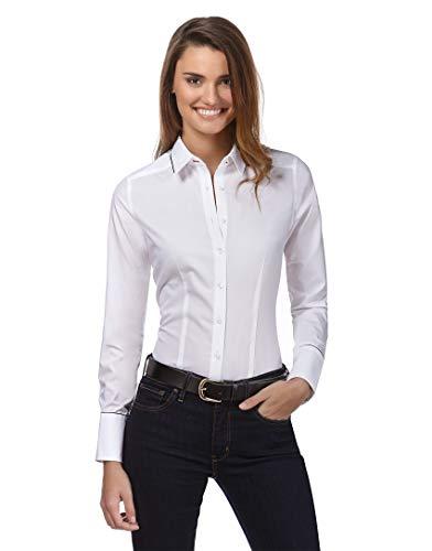 Vincenzo Boretti Damen Bluse leicht tailliert 100% Baumwolle bügelleicht Langarm Hemdbluse elegant festlich Kent-Kragen auch für Business und unter Pullover weiß 42 -