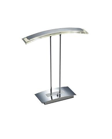 Trio Leuchten LED-Tischleuchte in chrom/Aluminium, Glas weiß satiniert/klar, mit Schalter, inklusiv 2x 5W LED, Höhe 45 cm 525910206