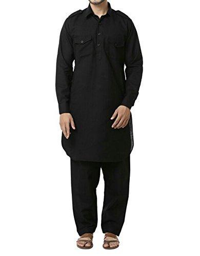 Royal Men's Cotton Pathani Suit (ROYAL_192_Black _X-Large)