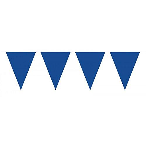 partydiscount24 Wimpelkette XL - Freie Farbwahl - L: 10 m H: 43 cm + 2 Gratis Luftballons Ø 30 cm (Blau) (Blau-silber Und Weiße Luftballons)