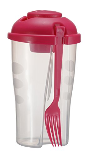 iShake Transparent Plastic Salad Cup with Cap and Fork (Magenta)