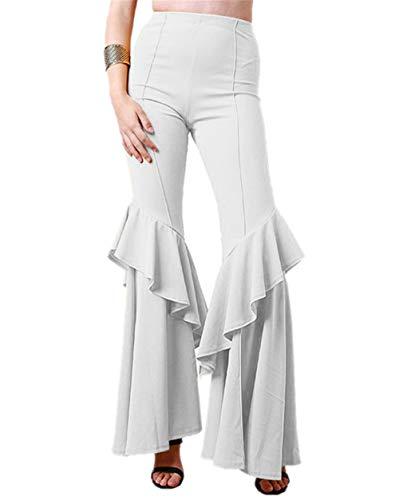 Jahre Kostüm Mode Siebziger - GODGETS Hippie Schlaghose für Damen - Schöne Disco Hose im 70er Jahre Hippie Stil für Damen Schlager Mottoparty oder für Fasching und Karneval,Weiß,M