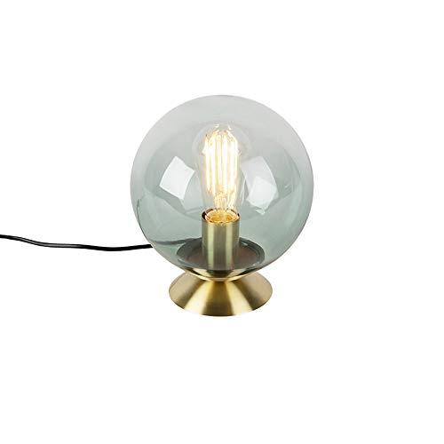 QAZQA Art Deco Lampe de Table/Lampe á poser/Luminaire/Lumiere/Éclairage Art deco laiton avec abat-jour en verre vert - Pallon/Métal Laiton,Vert Rond/intérieur/Salon