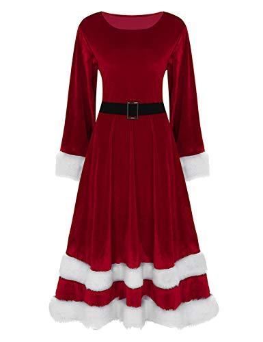 iEFiEL Weihnachten Party Kleider Damen Weihnachtsmann Kostüm Miss Santa Claus Kostüm Langarm Weihnachtskleider Weihnachtsfrau Midi Kleid Rot Grün Rot Large