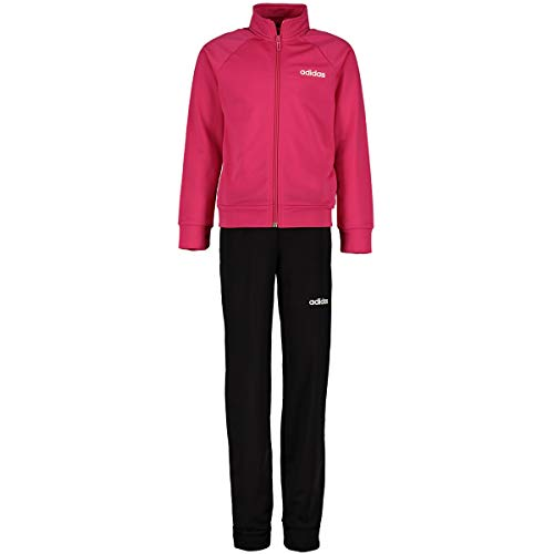 adidas Mädchen Essentials Linear Tracksuit , Mehrfarbig (real magenta / white) , 128