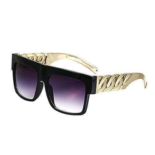 Aroncent Herren Retro Polarisierte Sonnenbrille, Vintage Punk UV400 Sportbrille Fahrer Brille mit Gold Metall Bügel