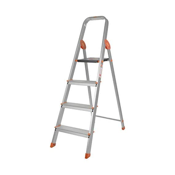Bathla Advance Carbon - 4 Step Foldable Aluminium Ladder with Scratch Resistant Smart Platform and Sure-Hinge Technology (Silver, Orange and Black)...