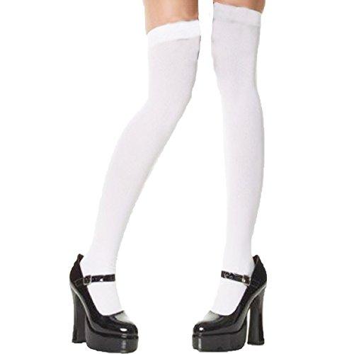 Imagen de yummy bee medias semi opaco calcetines largos por encima de la rodilla sujeción colegiala disfraz mujer blanco