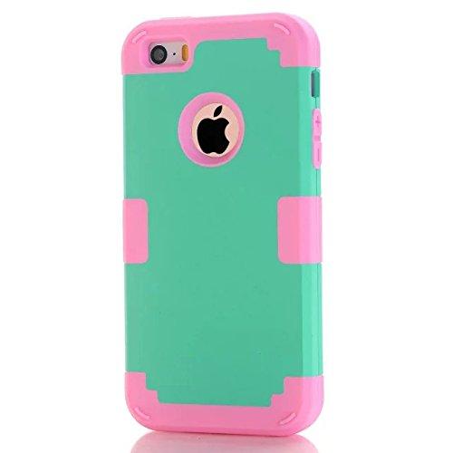 iPhone 5S Fall Süßigkeit-Farben-Series -Lantier Hybrid von weichen Silikon-Interior und Exterior harte PC Schild Schlank Leichte, stoßfest Ganzkörper-Schutzhülle für das iPhone 5, iPhone 5S Light Gold Mint Green+Hot Pink