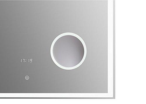 Blueline Design LED Spiegel 120x60 cm Uhr, Kosmetikspiegel und Bluetooth 2 Lautsprecher - 2