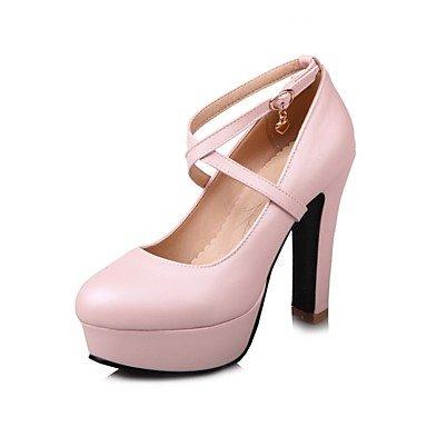 Pink Pour Rouge Heels Automne Bleu Pour Office Printemps De Boucle Bout Carrière Blanc SHOESHAOGE Comfort Talon Amp; Robe Rond Femmes Rose Chaussures Similicuir BUqx7Aw