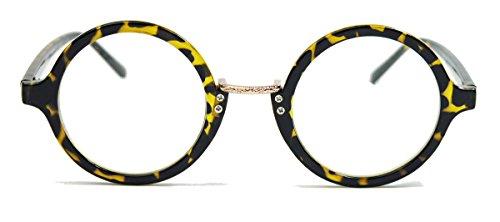 Klassische Nerdbrille runde Hornbrille im 40er 50er Jahre Vintage Look clear lens