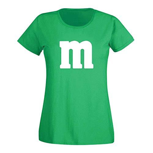 T-Shirt M&M Schoko-Linse Gruppenkostüm Karneval Fasching 15 Farben Damen XS-3XL M\'s Fans Ms Krümelmonster Darts Tanzgruppe Mottoparty, Größenauswahl:XS, Farbe:grün/Kelly - Logo Weiss