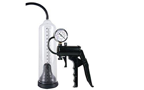 Vakuumpumpe / Penispumpe / Potenzpenispumpe Stehen Sie einsatzbereit Ihren Mann! Einfach den Penis in den transparenten Unterdruck-Zylinder einführen und mit der speziellen Scherengriffpumpe mit Sicherheitsventil das effektive Potenz-Vakuum erzeugen. Am Manometer können Sie die Druckstärke kontrollieren. Wenn das Blut in die Schwellkörper fließt und sich Ihr Penis versteift sowie vergrößert, ist an der Messskala in cm und inch der Erfolg abzulesen. Gesamtlänge Pumpzylinder ca. 22 cm, mit Messskala bis 21 cm, Ø 5 cm. Material: ABS, PVC, Silikon, Metall, phthalatfrei gemäß EU-Verordnung 1907/2006/EC. Produktart: Penispumpe Farbe: Schwarz Länge: 22 cm Durchmesser: 5 cm Material: ABS (Pumpe+Griff), Latex (Manschette), PVC (Schlauch), Metall (Manometer)/ Produmtarten: sehr gute Penispumpe / sehr gute Potenzpumpe / Penistrainer
