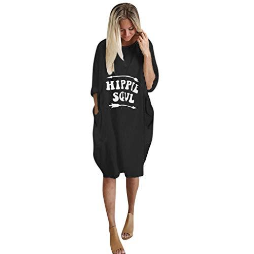 LILIHOT Womens Plus Size Lose Tops Kleid Damen Rundhals Ausschnitt Lässig Lange Tasche Kleid Frühling Herbst Elegant Frauen Casual Party Strand Tunika Kleid -