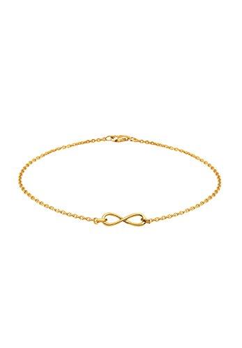 Elli Damen Schmuck Armband Gliederarmband Infinity  Unendlichkeit Liebe Freundschaft Forever Liebesbeweis Silber 925 Vergoldet Länge 18 cm