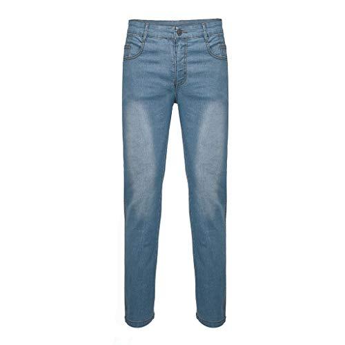 CAOQAO Pantaloni da Uomo Pantaloncini Jeans/Moda Uomo Retro Tinta Unita Zip Casual con Tasca Jeans Slim/Blu/M-XXXL