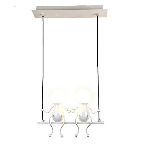 Pendelleuchte LED Pendellampe E27 Eisen Kleine Menschen Cartoon Design Hängeleuchte Kronleuchter geeignet für Kinderzimmer,Wohzimmer, Treppe, Schlafzimmer, Deckenleuchte Hängelampe (Weiß, 2-flammig)