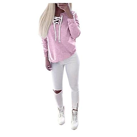 Bluestercool Femmes Automne Casual Sport à manches longues Pull à lacets Tops Chemisier à T-shirt (Rose,
