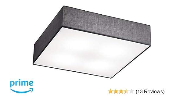 Deckenleuchte Deckenlampe EMBASSY Stoffschirm grau 50 x 50cm 4x E27