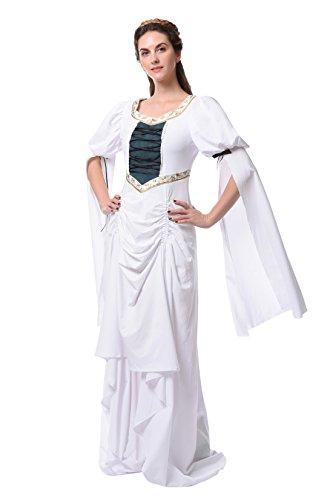 Damen Renaissance Mittelalterlichen Kleid Halloween Party Kostüm (L, GC311A-NI) (Victorian Lady Kostüme Perücke)