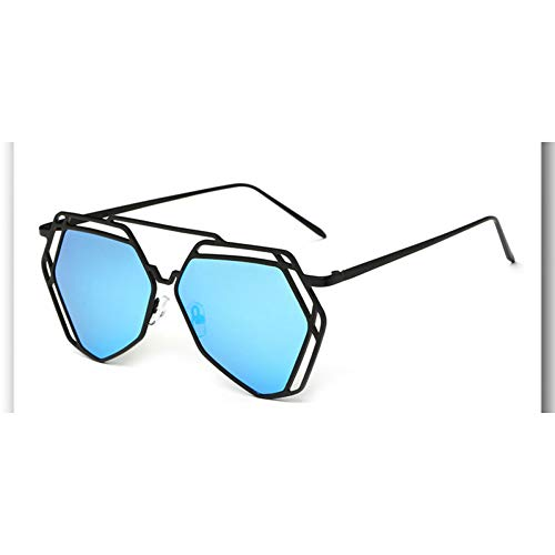 KCJKXC Großen Spiegel Sonnenbrille Frauen Hexagon Liebhaber Hippie Uv400 Pilot Aushöhlen Sonnenbrille Gute Qualität