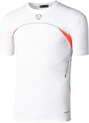 Jeansian Uomo Asciugatura Rapida Sportivo Casuale Slim Sports Fashion Tee T-Shirts Camicie LSL1059 LSL1050_White