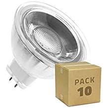 Pack 10 Lámparas LED GU5.3 MR16 COB Cristal 12V 5W Blanco Neutro 4000K efectoLED