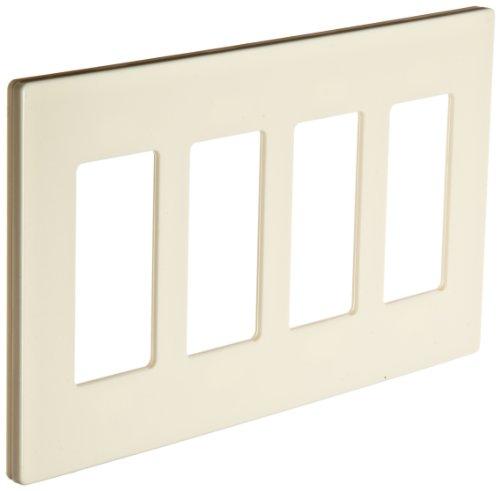Morris Productos 80918–Placa, sin tornillos, Snap-In, almendra, 4GANG