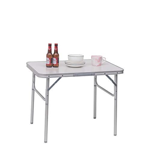 WOLTU Campingtisch Klapptisch Alu Gartentisch Arbeitstisch Balkontisch Reisetisch,75x55x25,5-58,5cm, Tischplatte aus MDF CPT8131ws - Klapptisch Griff