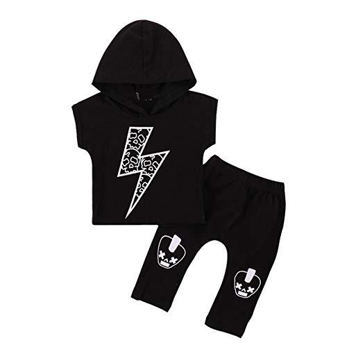 Chennie Baby Boy Kurzarm Mit Kapuze Oberteile Lange Hosen Outfits Kleidung Set 0-18 Monate (Color : Black, Size : ()