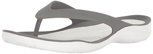 Crocs Damen Swiftwater Flip Women Zehentrenner, Grau (Smoke/White 06x), 39/40 EU