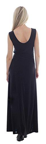 Chocolate Pickle ® Ladies Illusion Contrast Boob Knot Panel Plus Größe langes Abend-Maxi Kleid Black-Turquoise