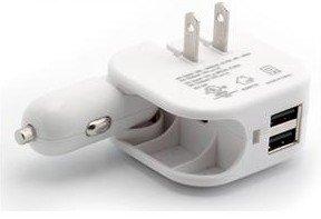 mynetdeals KOMPAKT faltbar Multicharger–Auto/Fahrzeug/DC und Wand/AC/Reise Ladegerät Adapter für Casio G 'zOne Commando 4G LTE, Panasonic Lumix DMC-CM1/TOUGHPAD fz-x1/Eluga, (USB-Ladekabel nicht im Lieferumfang enthalten), weiß (Ac Wand Home-adapter Auto)