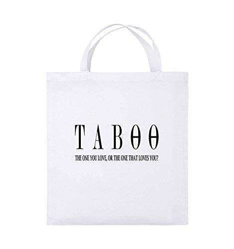 Comedy Bags - TABOO - LOGO2 - Jutebeutel - kurze Henkel - 38x42cm - Farbe: Schwarz / Silber Weiss / Schwarz
